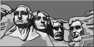 Clip Art: Mt. Rushmore Grayscale I abcteach.com.