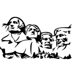 Mount rushmore clipart line, Mount rushmore line Transparent.
