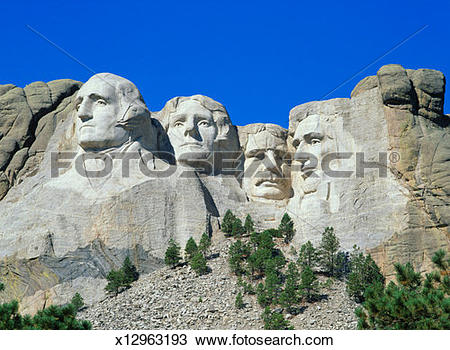 Stock Photo of USA, South Dakota, Mt Rushmore National Monument.
