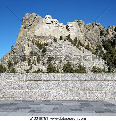 Stock Photography of Front view of Mount Rushmore National.