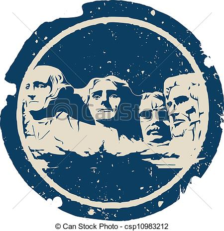 Vector Clip Art of Mount Rushmore.