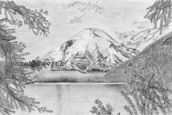 Mount St. Helens and Spirit Lake Southwest Washington State.