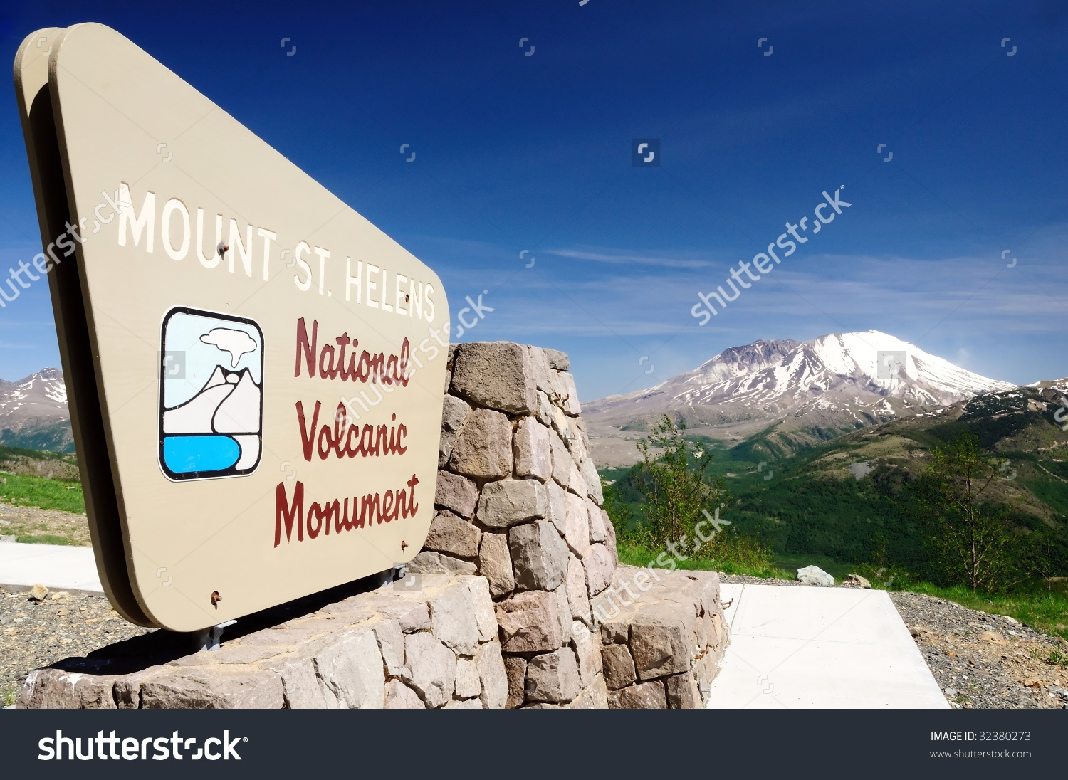 Mount St. Helens National Volcanic Monument Viewpoint Stock Photo.