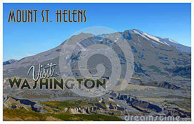 Mount St Helens Stock Illustrations.