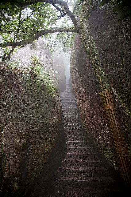 Staircase to the taoist temple of Mount Sanqing, China (but very.