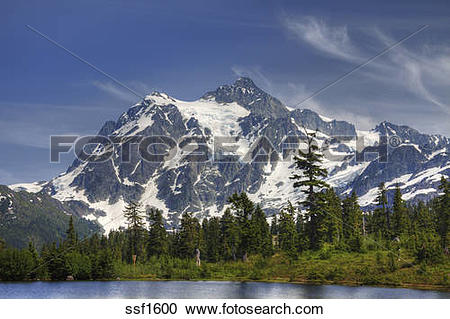 Stock Photography of Mount Shuksan, a majestic peak in the Mount.