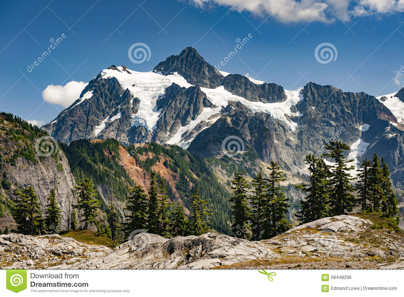 Artist Point And Mt. Shuksan. Stock Photo.