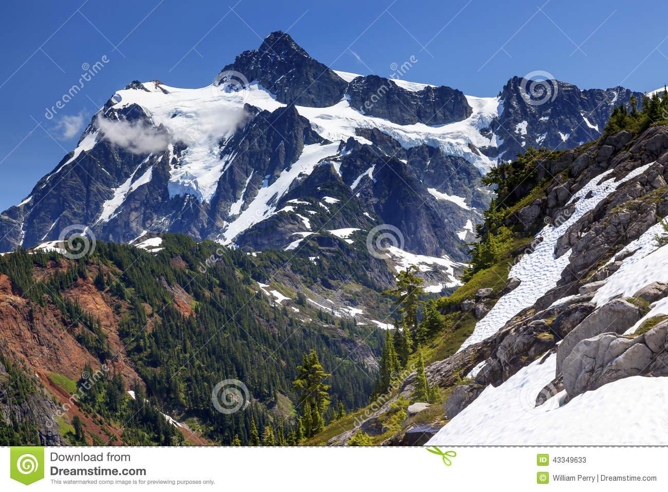 Hiking Snowfields Artist Point Glaciers Mount Shuksan Washington.