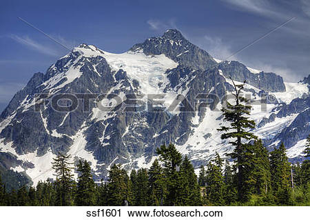 Stock Photography of Mount Shuksan, a majestic peak with volcanic.