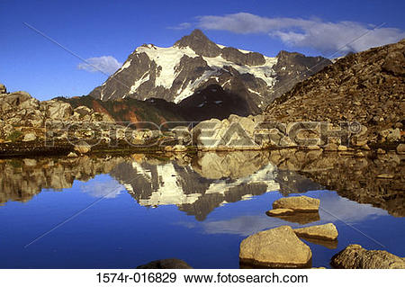 Stock Photograph of Mount Shuksan Mount Baker Wilderness.