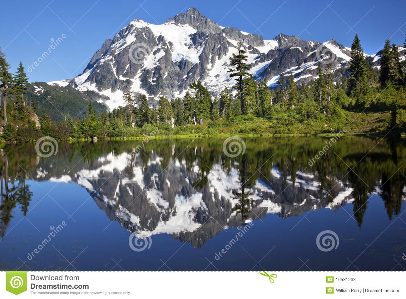 Mirror Reflection Lake Mount Shuksan Washington Stock Photos.