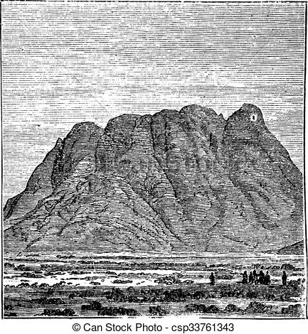 EPS Vector of Mount Sinai or Mount Horeb in Sinai Peninsula Egypt.