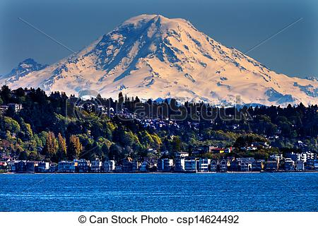 Stock Photographs of Mount Rainier Puget Sound North Seattle Snow.