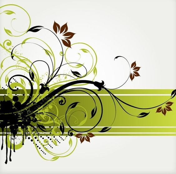 Floral Swirl Vector Background.