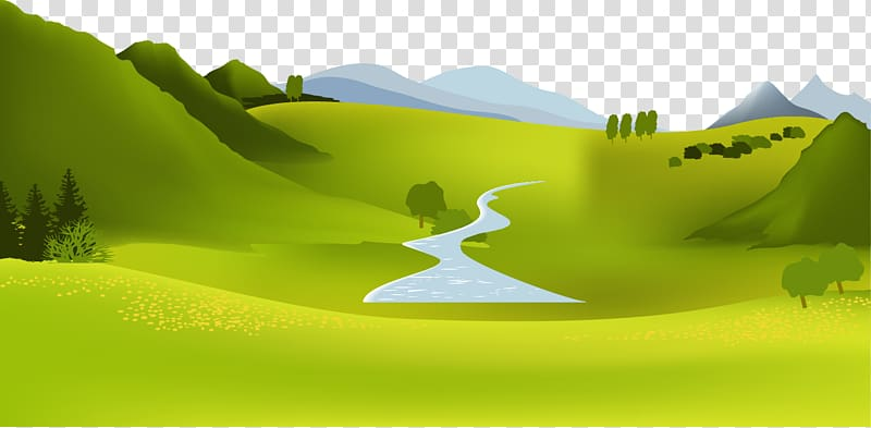 Green open field illustration, Mountain river Landscape.