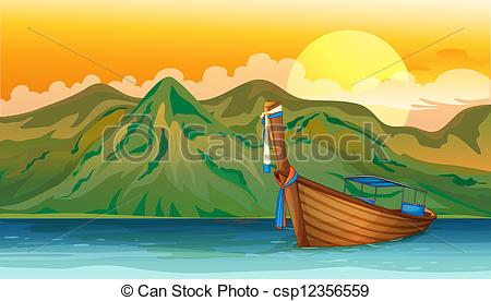 Clipart Vector of A boat lost in the sea.