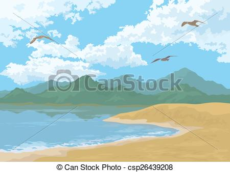 Vector Clipart of Sea Landscape with Mountains and Birds.