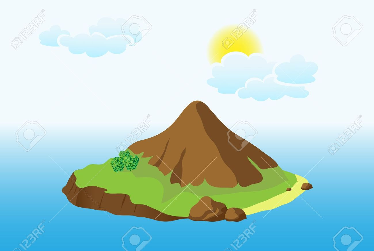 Island With Mountain Royalty Free Cliparts, Vectors, And Stock.
