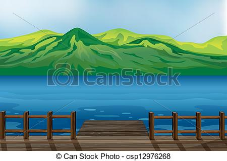 Mountain and sea clipart.