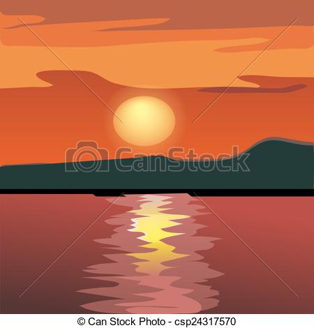 Vectors Illustration of Sunset and mountain silhouette from the.