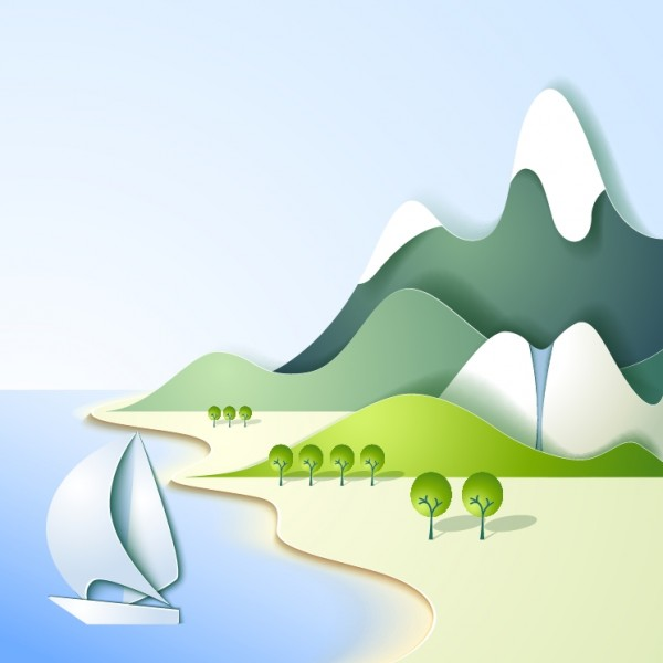 Sea and Mountain Landscape Vector.