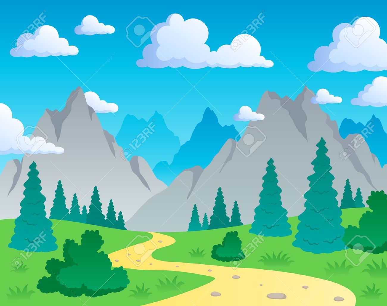 Mountains and valleys clipart.