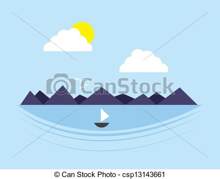 Clip Art Vector of Mountain Scene Water.