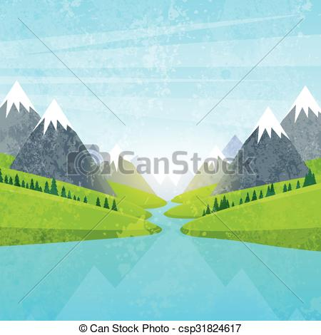 Vector Clip Art of Mountain Water River Landscape Forest Green.