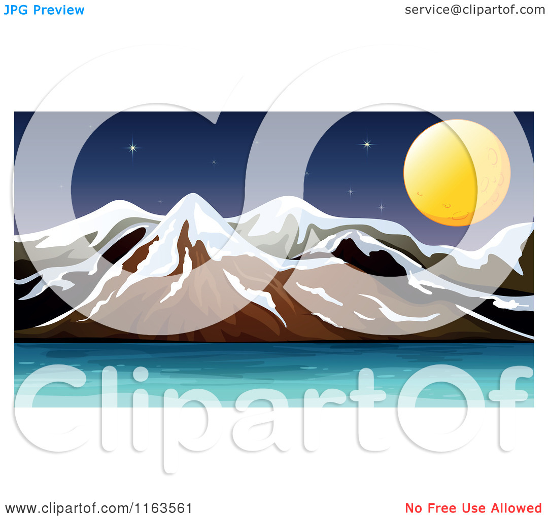 Cartoon of a Full Moon and Snow Capped Mountains with Water.