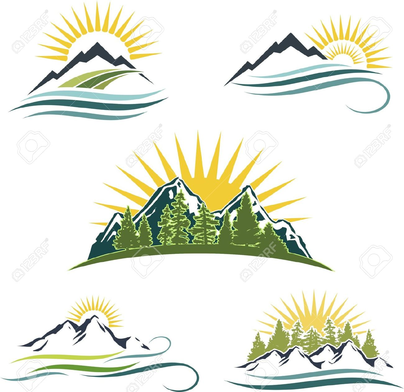 Mountain with river clipart.