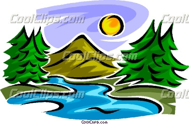 Mountain and stream clipart.