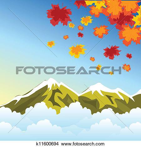 Clipart of Autumn in mountain k11600694.