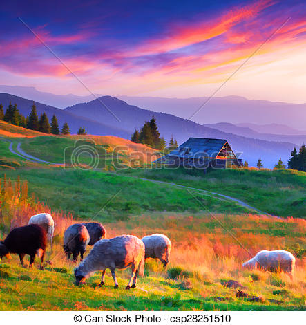 Clipart of Colorful autumn sunset in mountain village..