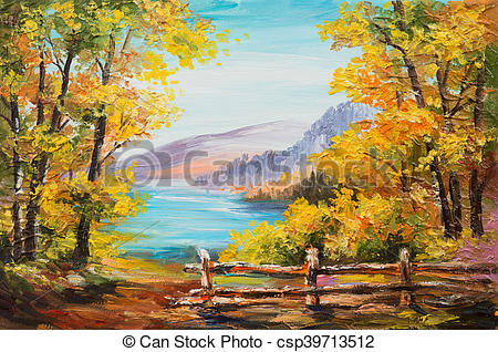 Clipart of Oil painting landscape.