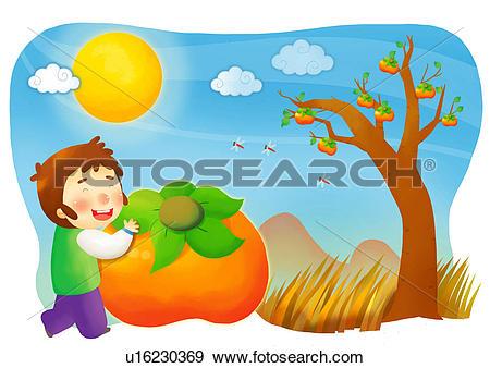 Stock Illustration of mountain, autumn, grass, tree, persimmon.