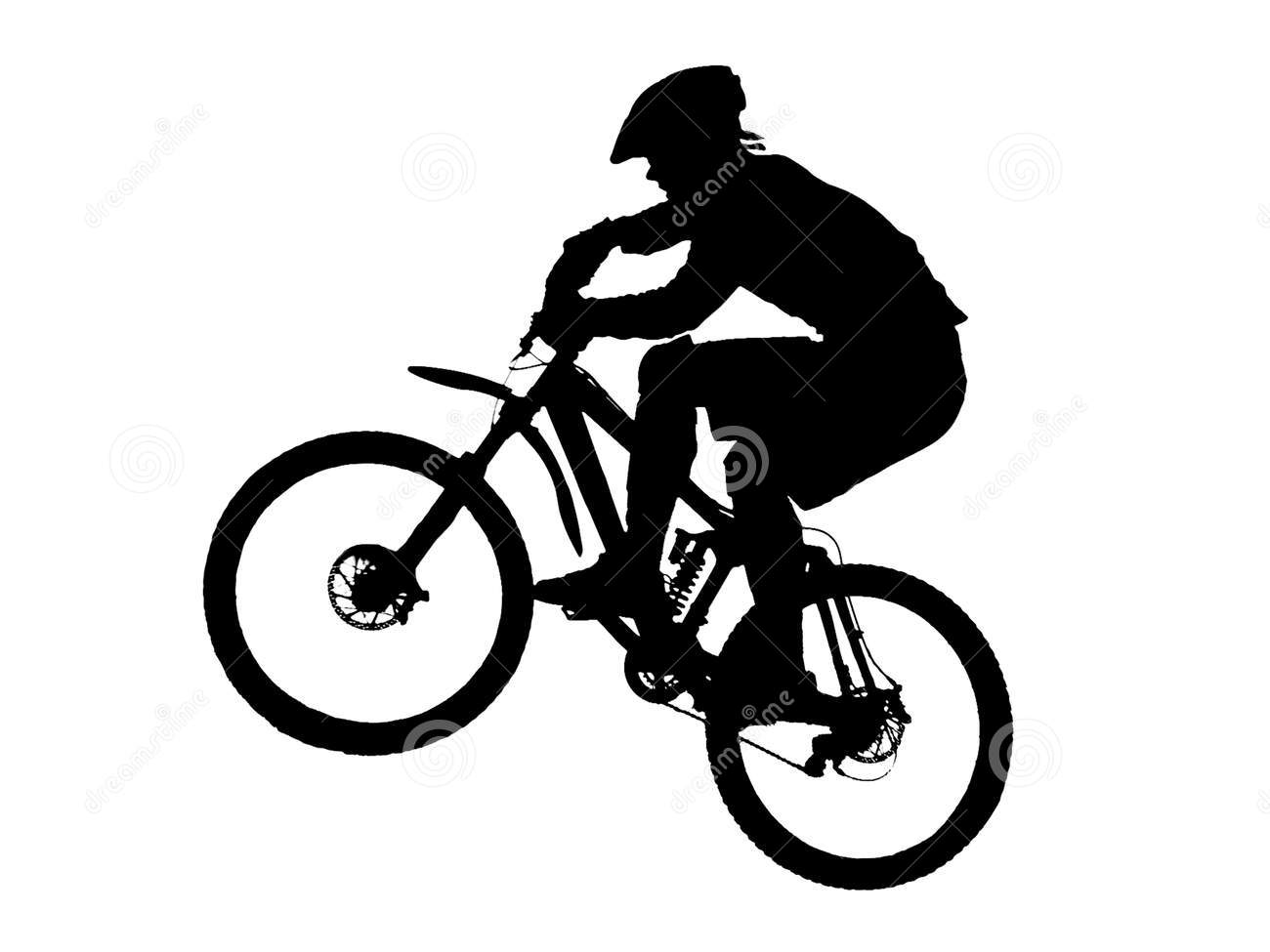 12 Mountain Biking Silhouette Vector Images.