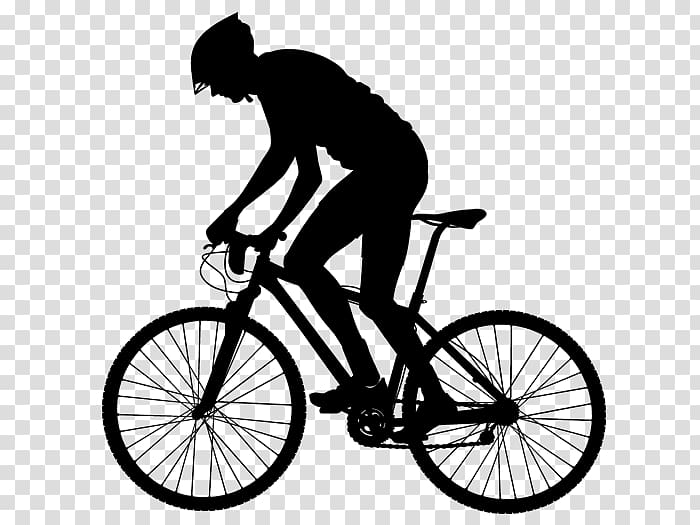 Silhouette of man riding bicycle sticker, Bicycle Cycling.