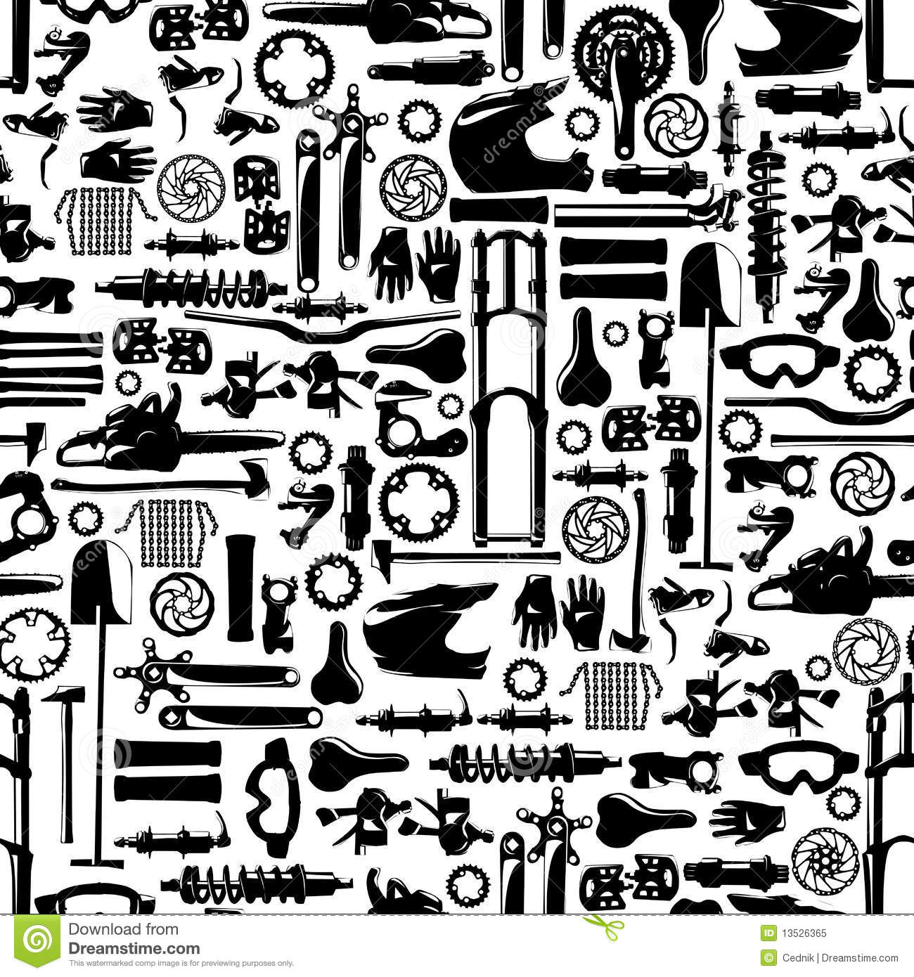 Big Bike Part Vector Colletion Seamless Pattern Illustration.