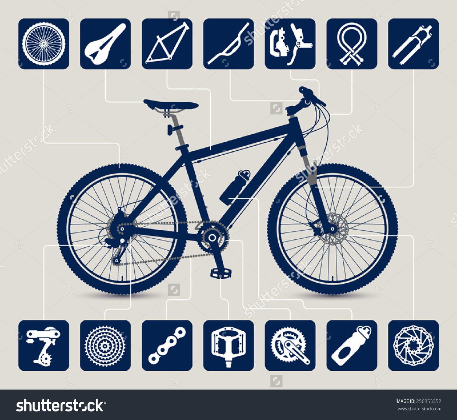 Mtb Bike High Detailed Silhouette Icons Stock Vector 256353352.