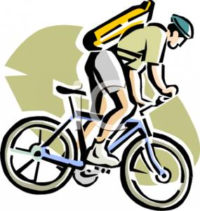 Colorful Cartoon of a Man Riding a Mountain Bike.