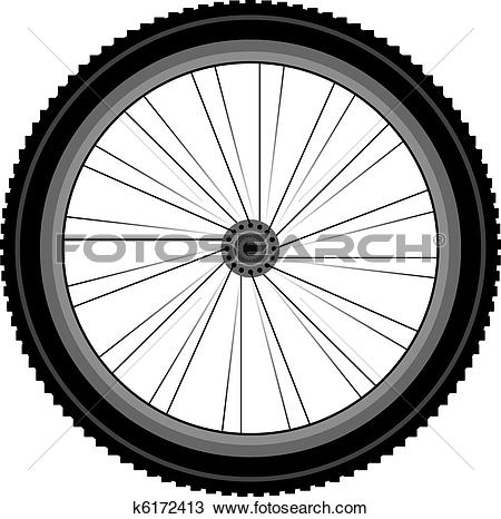 Clipart of detailed Front wheel of a mountain bike k6172413.