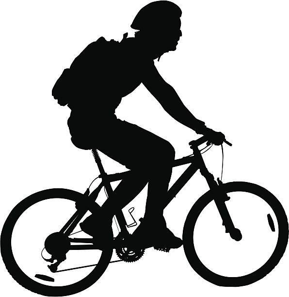 Man Riding Mountain Bike vector art illustration.