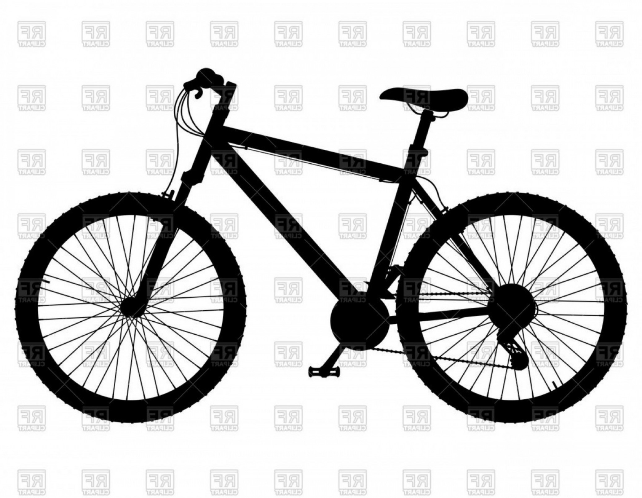 Silhouette Of Mountain Bike With Gear Shifting Vector.