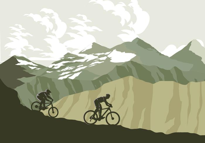Mountain Bike Trail Vector.