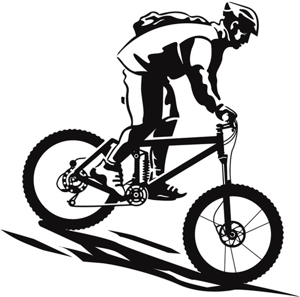 Downhill Mountain Bike Clip Art.