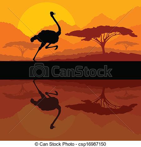 Clipart Vector of Running ostrich bird in wild mountain nature.