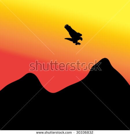Sunrise Over Mountains Birds Fly Free Stock Vector 258965690.