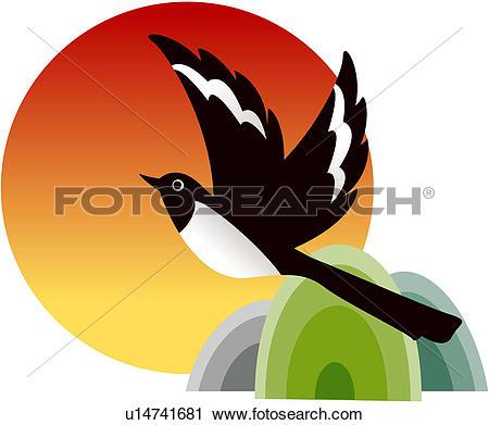 Clipart of magpie, bird, birds, vertebrate, mountain, traditional.