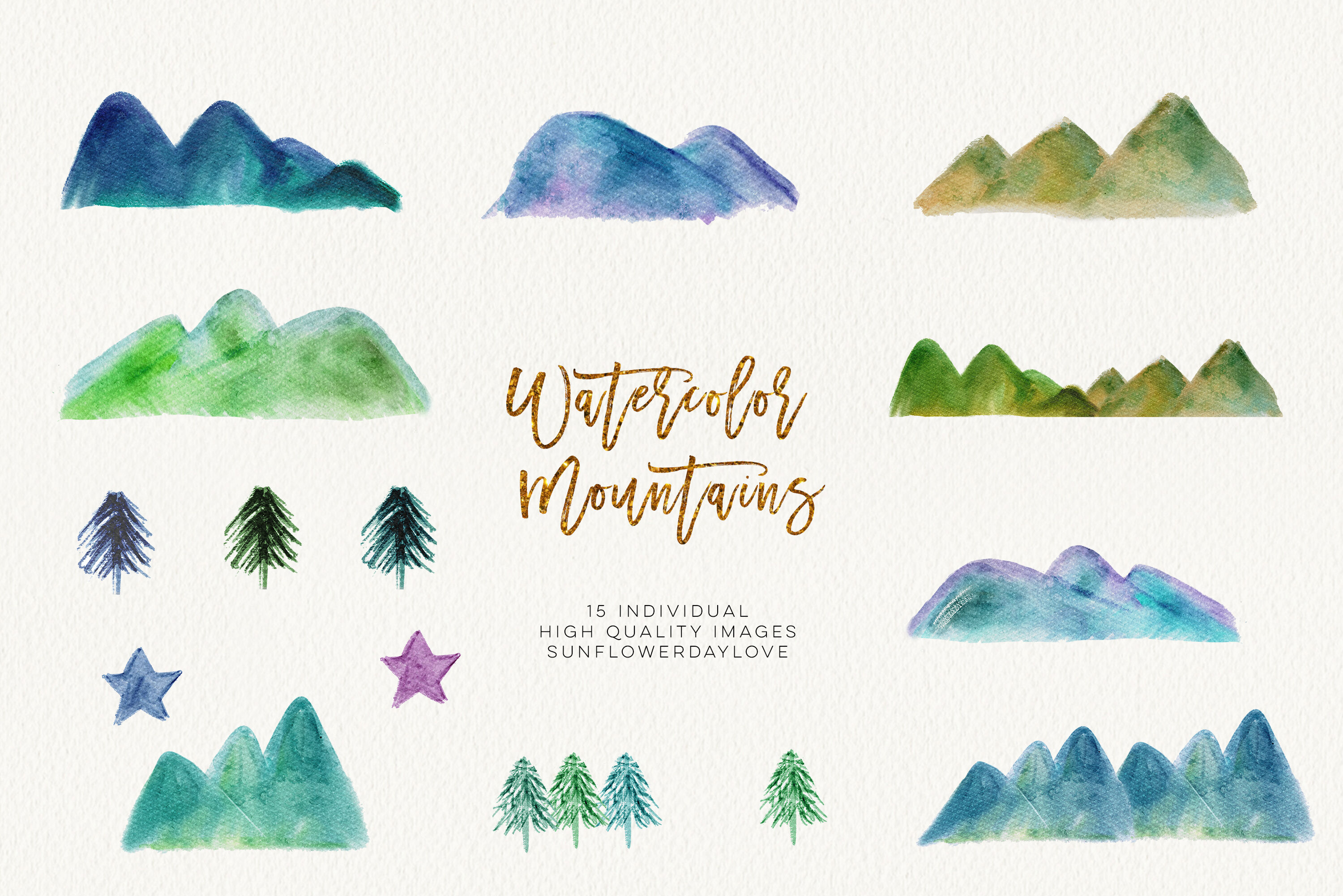 Watercolor Mountain Borders Clip Art, Mountain Forest Green.