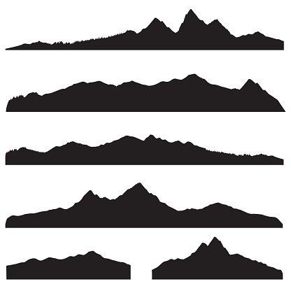 Mountains landscape silhouette set. High mountain border.